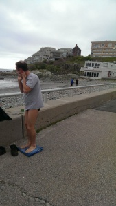 Ted's pre-swim ritual
